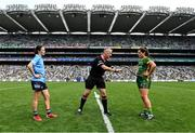 5 September 2021; Referee Brendan Rice with team captains Sinéad Aherne of Dublin and Shauna Ennis of Meath before the TG4 All-Ireland Ladies Senior Football Championship Final match between Dublin and Meath at Croke Park in Dublin. Photo by Piaras Ó Mídheach/Sportsfile
