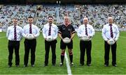 5 September 2021; Referee Brendan Rice and his officials before the TG4 All-Ireland Ladies Senior Football Championship Final match between Dublin and Meath at Croke Park in Dublin. Photo by Piaras Ó Mídheach/Sportsfile