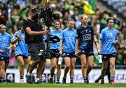 5 September 2021; Dublin players, including Sinéad Aherne, 13, and Ciara Trant, 1, in the parade before the TG4 All-Ireland Ladies Senior Football Championship Final match between Dublin and Meath at Croke Park in Dublin. Photo by Piaras Ó Mídheach/Sportsfile