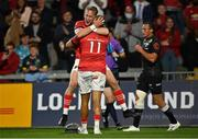 25 September 2021; Simon Zebo of Munster, 11, celebrates with team-mate Mike Haley after scoring his side's first try during the United Rugby Championship match between Munster and Cell C Sharks at Thomond Park in Limerick. Photo by Piaras Ó Mídheach/Sportsfile