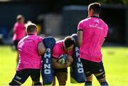 28 September 2021; Rónan Kelleher, centre, with Dan Leavy and James Ryan during a Leinster Rugby squad training session at UCD in Dublin. Photo by Harry Murphy/Sportsfile