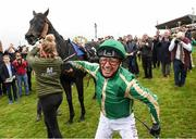 30 September 2021; Jockey Frankie Dettori celebrates after winning The Gannons City Recovery And Recycling Services Ltd. Supporting DAFA Handicap on Trueba at Bellewstown Racecourse in Collierstown, Meath. Photo by Matt Browne/Sportsfile