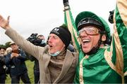 30 September 2021; Jockey Frankie Dettori and trainer Johnny Murtagh celebrate after winning The Gannons City Recovery And Recycling Services Ltd. Supporting DAFA Handicap with Trueba at Bellewstown Racecourse in Collierstown, Meath. Photo by Matt Browne/Sportsfile