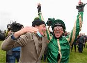 30 September 2021; Jockey Frankie Dettori and trainer Johnny Murtagh celebrate after winning The Gannons City Recovery And Recycling Services Ltd. Supporting DAFA Handicap on Trueba at Bellewstown Racecourse in Collierstown, Meath. Photo by Matt Browne/Sportsfile