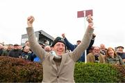 30 September 2021; Trainer Johnny Murtagh celebrates after sending out Trueba to win The Gannons City Recovery And Recycling Services Ltd. Supporting DAFA Handicap at Bellewstown Racecourse in Collierstown, Meath. Photo by Matt Browne/Sportsfile
