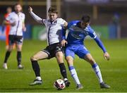 1 October 2021; Sean Boyd of Finn Harps in action against Will Patching of Dundalk during the SSE Airtricity League Premier Division match between Finn Harps and Dundalk at Finn Park in Ballybofey, Donegal. Photo by Ramsey Cardy/Sportsfile