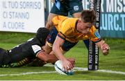 2 October 2021; Ethan McIlroy of Ulster dives over to score a try during the United Rugby Championship match between Zebre and Ulster at Stadio Sergio Lanfranchi in Parma, Italy. Photo by Roberto Bregani/Sportsfile
