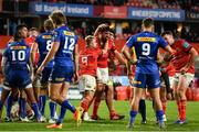 2 October 2021; Jean Kleyn of Munster, centre, celebrates with team-mate Gavin Coombes, 8, after scoring his side's second try during the United Rugby Championship match between Munster and DHL Stormers at Thomond Park in Limerick. Photo by Sam Barnes/Sportsfile