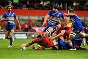 2 October 2021; RG Snyman of Munster, supported by Jack O'Donoghue, dives over to score his side's fifth try, despite the efforts of Leon Lyons of DHL Stormers during the United Rugby Championship match between Munster and DHL Stormers at Thomond Park in Limerick. Photo by Sam Barnes/Sportsfile