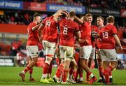 2 October 2021; RG Snyman of Munster, 19, celebrates with team-mates  after scoring their side's fifth try during the United Rugby Championship match between Munster and DHL Stormers at Thomond Park in Limerick. Photo by Sam Barnes/Sportsfile