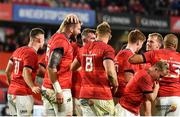 2 October 2021; RG Snyman of Munster, second from left, celebrates with team-mates after scoring their side's fifth try during the United Rugby Championship match between Munster and DHL Stormers at Thomond Park in Limerick. Photo by Sam Barnes/Sportsfile