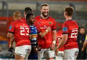 2 October 2021; RG Snyman, centre, and Ben Healy of Munster share a joke after the United Rugby Championship match between Munster and DHL Stormers at Thomond Park in Limerick. Photo by Sam Barnes/Sportsfile