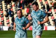 3 October 2021; Ed Byrne, left, and James Ryan of Leinster after their side's victory in the United Rugby Championship match between Dragons and Leinster at Rodney Parade in Newport, Wales. Photo by Harry Murphy/Sportsfile
