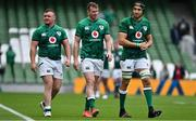 3 July 2021; Ireland players, from left, Dave Kilcoyne, Chris Farrell and Ultan Dillane after the International Rugby Friendly match between Ireland and Japan at Aviva Stadium in Dublin. Photo by Brendan Moran/Sportsfile