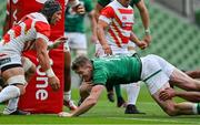 3 July 2021; Chris Farrell of Ireland scores his side's first try during the International Rugby Friendly match between Ireland and Japan at Aviva Stadium in Dublin. Photo by Brendan Moran/Sportsfile