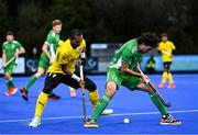 5 October 2021; Daragh Walsh of Ireland in action against Razie Rahim of Malaysia during an international friendly match between Ireland and Malaysia at Lisnagarvey Hockey Club in Hillsborough, Down. Photo by Ramsey Cardy/Sportsfile