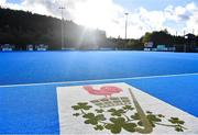 5 October 2021; A general view of the logo of Lisnagarvey Hockey Club before an international friendly match between Ireland and Malaysia at Lisnagarvey Hockey Club in Hillsborough, Down. Photo by Ramsey Cardy/Sportsfile