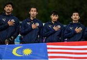 5 October 2021; The Malaysia team before an international friendly match between Ireland and Malaysia at Lisnagarvey Hockey Club in Hillsborough, Down. Photo by Ramsey Cardy/Sportsfile