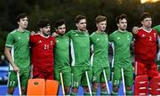 5 October 2021; Ireland players, from left, Sean Murray, James Milliken, Lee Cole, Sam Hyland, Jeremy Duncan, Jamie Carr before an international friendly match between Ireland and Malaysia at Lisnagarvey Hockey Club in Hillsborough, Down. Photo by Ramsey Cardy/Sportsfile