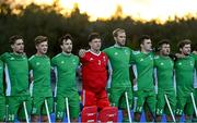 5 October 2021; Ireland players, from left, Lee Cole, Sam Hyland, Jeremy Duncan, Jamie Carr, Conor Harte, Mark McNellis, Benjamin Walker, Michael Robson before an international friendly match between Ireland and Malaysia at Lisnagarvey Hockey Club in Hillsborough, Down. Photo by Ramsey Cardy/Sportsfile