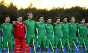 5 October 2021; Ireland players, from left, Jeremy Duncan, Jamie Carr, Conor Harte, Mark McNellis, Benjamin Walker, Michael Robson, Daragh Walsh, Luke Madeley, Kevin O'Dea, before an international friendly match between Ireland and Malaysia at Lisnagarvey Hockey Club in Hillsborough, Down.     Photo by Ramsey Cardy/Sportsfile
