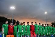 5 October 2021; The Ireland team before an international friendly match between Ireland and Malaysia at Lisnagarvey Hockey Club in Hillsborough, Down. Photo by Ramsey Cardy/Sportsfile