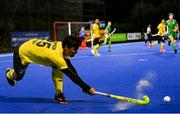 5 October 2021; Najmi Jazlan of Malaysia during an international friendly match between Ireland and Malaysia at Lisnagarvey Hockey Club in Hillsborough, Down. Photo by Ramsey Cardy/Sportsfile