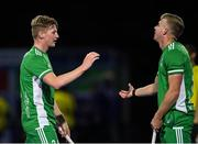 5 October 2021; Sam Hyland, left, and Conor Empey of Ireland after an international friendly match between Ireland and Malaysia at Lisnagarvey Hockey Club in Hillsborough, Down. Photo by Ramsey Cardy/Sportsfile