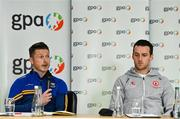 7 October 2021; GPA national executive committee member and Longford footballer Mickey Quinn, in the company of fellow committee member and Tyrone footballer Niall Morgan, speaking at a GPA Media Conference at the Crowne Plaza Hotel in Santry, Dublin, to address the upcoming GAA inter-county football championship structure proposals. Photo by Brendan Moran/Sportsfile