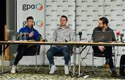 7 October 2021; GPA national executive committee member and Longford footballer Mickey Quinn, in the company of fellow committee member and Tyrone footballer Niall Morgan and GPA CEO Tom Parsons, speaking at a GPA Media Conference at the Crowne Plaza Hotel in Santry, Dublin, to address the upcoming GAA inter-county football championship structure proposals. Photo by Brendan Moran/Sportsfile