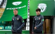 7 October 2021; Colm Whelan, right, and Ronan Boyce arrive before a Republic of Ireland U21's training session at Tallaght Stadium in Dublin. Photo by Sam Barnes/Sportsfile
