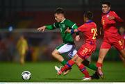 7 October 2021; Justin Ferizaj of Republic of Ireland on his way to scoring his side's first goal despite the efforts of Marc Rodriguez Gelabert, 21, and Gerard Estrada Quinquilla, 8, both of Andorra, during the UEFA U17 Championship Qualifier match between Republic of Ireland and Andorra at Turner's Cross in Cork. Photo by Eóin Noonan/Sportsfile
