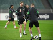 8 October 2021; Nathan Collins during a Republic of Ireland training session at the Olympic Stadium in Baku, Azerbaijan. Photo by Stephen McCarthy/Sportsfile