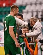 8 October 2021; Jake O'Brien of Republic of Ireland celebrates with his mother Richella Bennett, from Youghal in Cork, after the UEFA European U21 Championship Qualifier match between Republic of Ireland and Luxembourg at Tallaght Stadium in Dublin.  Photo by Sam Barnes/Sportsfile