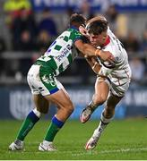 8 October 2021; Ethan McIlroy of Ulster is tackled by Tommaso Benvenuti of Benetton during the United Rugby Championship match between Ulster and Benetton at Kingspan Stadium in Belfast. Photo by Ramsey Cardy/Sportsfile