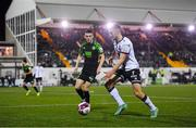 8 October 2021; Michael Duffy of Dundalk in action against Gary O'Neill of Shamrock Rovers during the SSE Airtricity League Premier Division match between Dundalk and Shamrock Rovers at Oriel Park in Dundalk, Louth. Photo by Seb Daly/Sportsfile