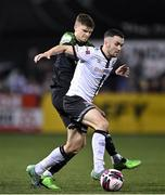 8 October 2021; Michael Duffy of Dundalk in action against Sean Gannon of Shamrock Rovers during the SSE Airtricity League Premier Division match between Dundalk and Shamrock Rovers at Oriel Park in Dundalk, Louth. Photo by Seb Daly/Sportsfile