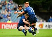 9 October 2021; Pierre Bruno of Zebre is tackled by Jamie Osborne, left, and Ciarán Frawley of Leinster during the United Rugby Championship match between Leinster and Zebre at the RDS Arena in Dublin. Photo by Harry Murphy/Sportsfile
