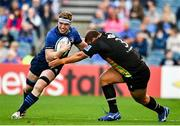 9 October 2021; Dan Leavy of Leinster in action against Ion Neculai of Zebre during the United Rugby Championship match between Leinster and Zebre at RDS Arena in Dublin. Photo by Sam Barnes/Sportsfile