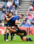 9 October 2021; Dan Leavy of Leinster in action against Nicolo Casilio, left, and Ion Neculai of Zebre during the United Rugby Championship match between Leinster and Zebre at RDS Arena in Dublin. Photo by Sam Barnes/Sportsfile