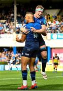 9 October 2021; Adam Byrne of Leinster celebrates with team-mate Dan Leavy, after scoring his side's sixth try during the United Rugby Championship match between Leinster and Zebre at RDS Arena in Dublin. Photo by Sam Barnes/Sportsfile