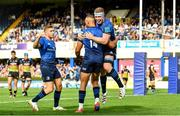 9 October 2021; Adam Byrne of Leinster celebrates with team-mates Dan Leavy, right, and Jordan Larmour, after scoring his side's sixth try during the United Rugby Championship match between Leinster and Zebre at RDS Arena in Dublin. Photo by Sam Barnes/Sportsfile