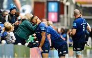 9 October 2021; Leinster player Adam Byrne celebrates with his mother Gillian after their side's victory in the United Rugby Championship match between Leinster and Zebre at RDS Arena in Dublin. Photo by Sam Barnes/Sportsfile