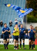 9 October 2021; Leinster players, from left, Ryan Baird, Dan Leavy, Ross Molony and Rónan Kelleher of Leinster after their side's victory in the United Rugby Championship match between Leinster and Zebre at the RDS Arena in Dublin. Photo by Harry Murphy/Sportsfile