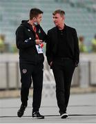 9 October 2021; Republic of Ireland manager Stephen Kenny, right, and Kieran Crowley, FAI communications executive, before the FIFA World Cup 2022 qualifying group A match between Azerbaijan and Republic of Ireland at the Olympic Stadium in Baku, Azerbaijan. Photo by Stephen McCarthy/Sportsfile