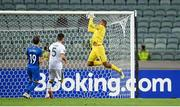 9 October 2021; Republic of Ireland goalkeeper Gavin Bazunu makes a save during the FIFA World Cup 2022 qualifying group A match between Azerbaijan and Republic of Ireland at the Olympic Stadium in Baku, Azerbaijan. Photo by Stephen McCarthy/Sportsfile
