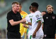 9 October 2021; Republic of Ireland manager Stephen Kenny with Chiedozie Ogbene of Republic of Ireland after the FIFA World Cup 2022 qualifying group A match between Azerbaijan and Republic of Ireland at the Olympic Stadium in Baku, Azerbaijan. Photo by Stephen McCarthy/Sportsfile