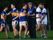 9 October 2021; Ciarán Kilkenny of Castleknock with St Vincent's manager Brian Mullins after the Go Ahead Dublin County Senior Club Football Championship Group 2 match between Castleknock and St Vincent's at Naul in Dublin. Photo by David Fitzgerald/Sportsfile