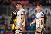 8 October 2021; David McCann, left, and Nathan Doak of Ulster during the United Rugby Championship match between Ulster and Benetton at Kingspan Stadium in Belfast. Photo by Ramsey Cardy/Sportsfile