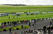 10 October 2021; A general view as spectators watch the Staffordstown Stud Stakes at The Curragh Racecourse in Kildare. Photo by Harry Murphy/Sportsfile